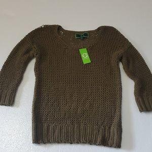 C Wonder Olive Loose knit cotton sweater